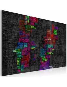 Tableau CARTE DE LA SUÈDE noms de villes colorés Triptyque - Cartes du monde par Artgeist