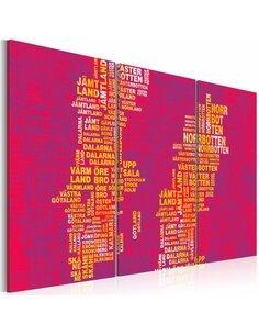 Tableau CARTE DE LA SUÈDE SUR FOND ROSE Triptyque - par Artgeist
