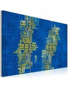 Tableau CARTE DE LA SUÈDE SUR FOND BLEU Triptyque - Cartes du monde par Artgeist