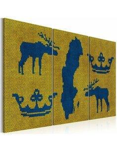 Tableau Triptyque - Carte du Monde: motifs suèdois Cartes du monde Artgeist