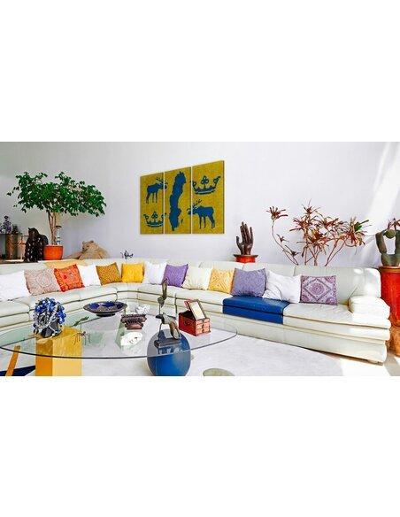 tableau carte du monde motifs su dois triptyque artgeist. Black Bedroom Furniture Sets. Home Design Ideas