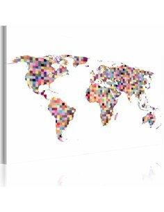 Tableau Carte Du Monde En Pixels  Cartes du monde Artgeist