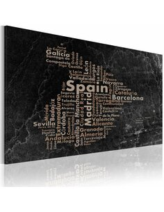 Tableau Text Map Of Spain On The Blackboard  Cartes du monde Artgeist