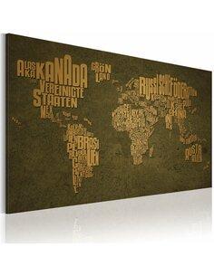 Tableau Carte Du Monde En Allemand: Continents Beiges  - par Artgeist