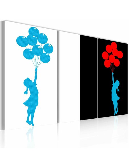 Tableau Triptyque - Floating balloon girl - triptych - par Artgeist