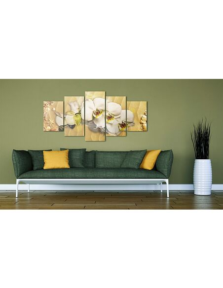Tableau - 5 tableaux - Plage et orchidée - par Artgeist