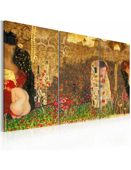 Tableau Triptyque - Gustav Klimt - inspiration, Triptych - par Artgeist