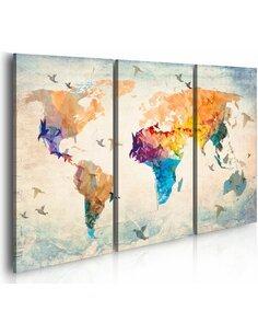 Tableau FREE AS A BIRD Triptyque - Cartes du monde par Artgeist