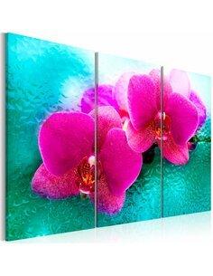 Tableau Triptyque - Turquoise et orchidée - par Artgeist
