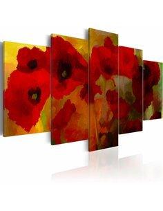 Tableau - 5 tableaux - Coquelicots sublimes - par Artgeist
