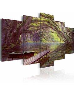 Tableau - 5 tableaux - Paysage, lac et arbres - par Artgeist