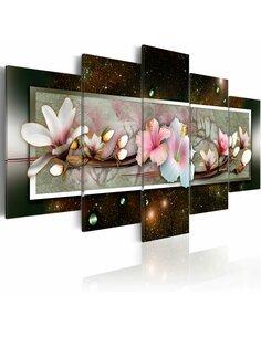 Tableau - 5 tableaux - Hibiscus - motif abstrait - par Artgeist