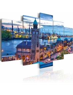Tableau - 5 tableaux - Allemagne, Hambourg, port - par Artgeist