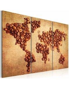 Tableau Triptyque - Cafés du monde Cartes du monde Artgeist