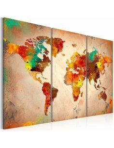 Tableau Triptyque - Painted World - triptych Cartes du monde Artgeist