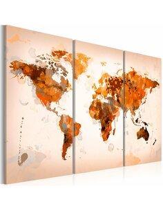 Tableau Triptyque - Map of the World - Desert storm - triptych Cartes du monde Artgeist