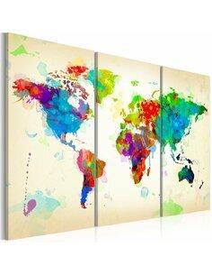 Tableau Triptyque - All colors of the World - triptych Cartes du monde Artgeist
