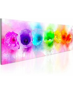 Tableau Panoramique - Rainbow-hued poppies - par Artgeist