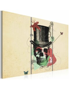 Tableau Triptyque - Gentleman's skeleton Abstractions Artgeist