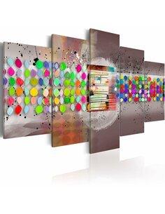 Tableau - 5 tableaux - abstrait (pois) Multicolores Artgeist