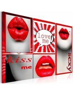 Tableau Triptyque - Kiss me! Love me! - par Artgeist