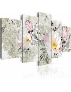 Tableau - 5 tableaux - magnolia - rétro - par Artgeist