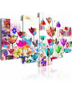 Tableau - 5 tableaux - Tulipes dans la pluie Tulipes Artgeist