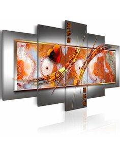 Tableau - 5 tableaux - Orange destruction - par Artgeist