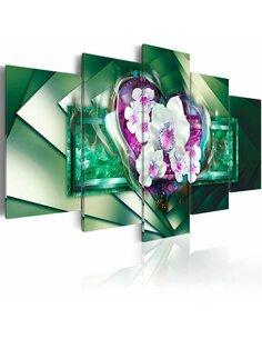 Tableau - 5 tableaux - In flames - green - par Artgeist