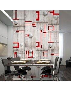 Papier peint CONCRETE, RED FRAMES AND WHITE KNOBS - par Artgeist