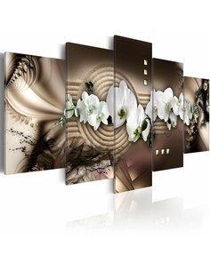 Tableau - 5 tableaux - Sable, orchidée, Zen - par Artgeist