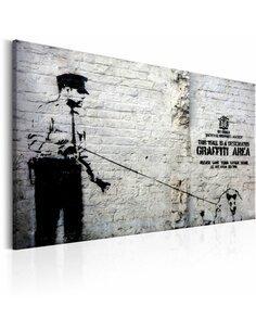 Tableau GRAFFITI AREA POLICE AND A DOG BY BANKSY - par Artgeist