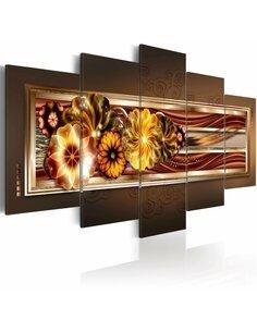 Tableau - 5 tableaux - In golden waves Fleurs et plantes Artgeist