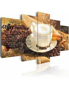 Tableau - 5 tableaux - Coffe, Espresso, Cappuccino, Latte machiato ... - par Artgeist