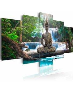 Tableau - 5 tableaux - Buddha and waterfall Zen Artgeist