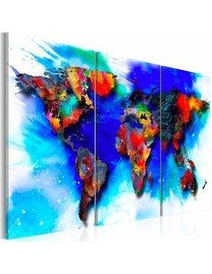 Tableau Triptyque - Rainbow map Cartes du monde Artgeist