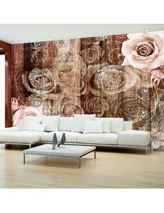 Papier peint OLD WOOD & ROSES - par Artgeist