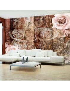 Papier Peint Old Wood & Roses  Bois Artgeist