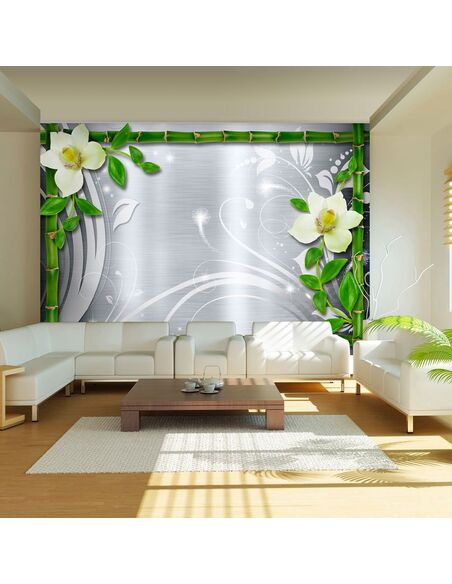 Papier Peint Bamboo And Two Orchids  Orchidées Artgeist