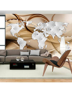 Papier peint WORLD MAP WHITE & DIAMONDS - par Artgeist