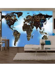 Papier peint WORLD MAP BLUE INSPIRATION - par Artgeist