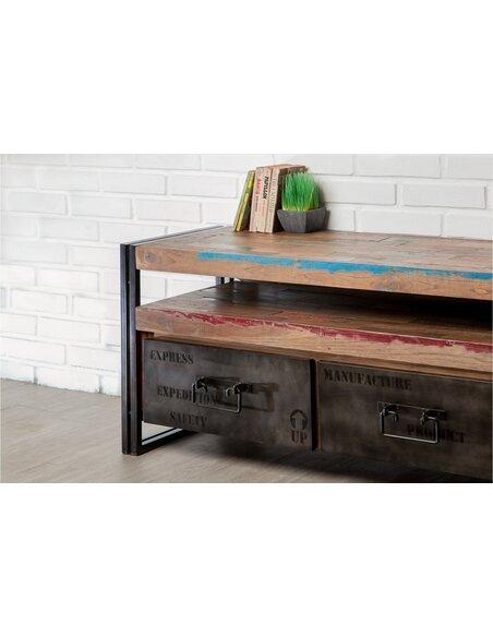 Meuble TV LOFT 1 étagère 2 tiroirs Teck recyclé - par Delorm