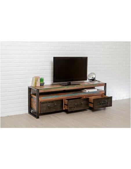 Meuble TV LOFT 1 étagère 3 tiroirs Teck recyclé - par Delorm