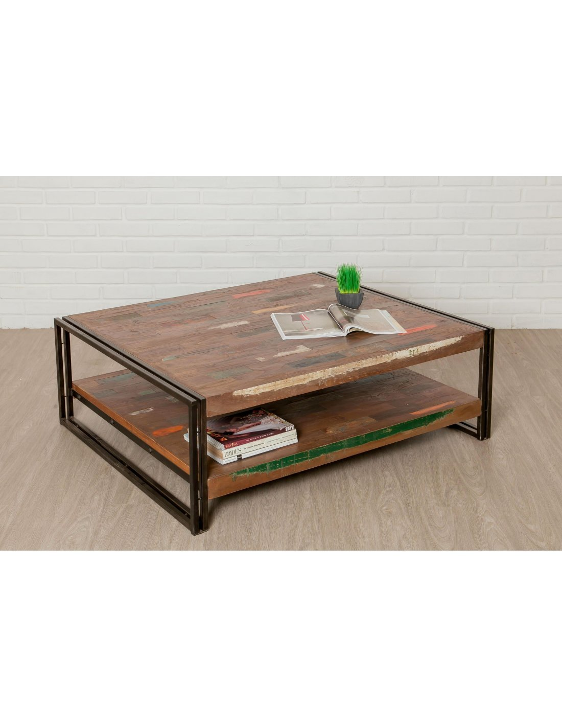 Table Basse Rectangulaire Loft Xxl Teck Recyclé Delorm
