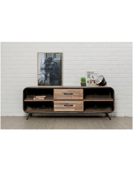 Meuble TV FUSION 2 tiroirs 4 niches Teck recyclé - par Delorm