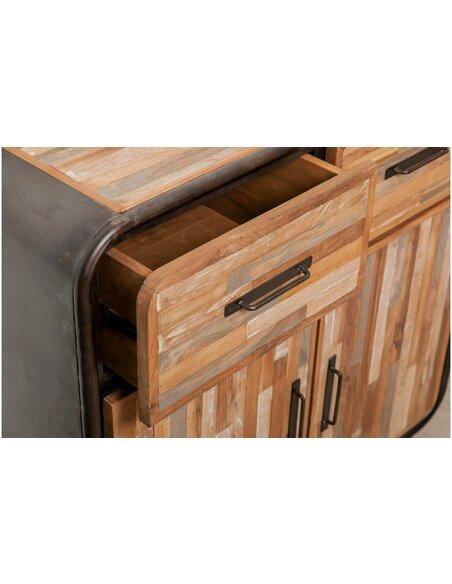 Buffet FUSION 2 tiroirs 2 portes Teck recyclé - par Delorm