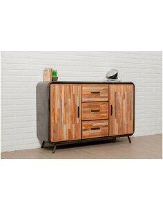 Buffet FUSION 2 portes 3 tiroirs Teck recyclé - par Delorm