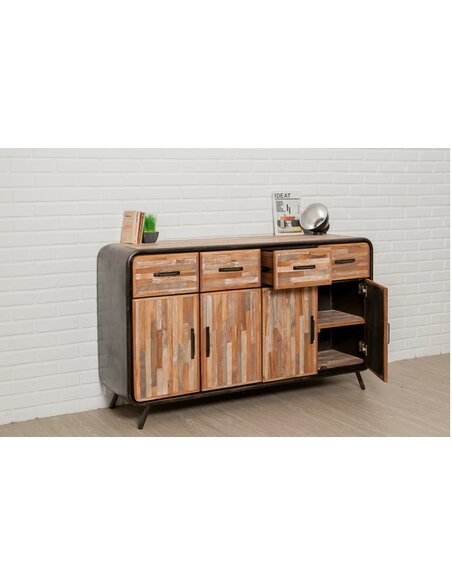 Buffet FUSION 4 tiroirs 4 portes Teck recyclé - par Delorm