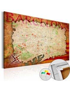 Tableau en liège MAP OF BARCELONA - par Artgeist