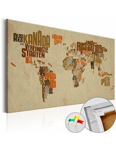 Tableau en liège RETRO MAP - par Artgeist
